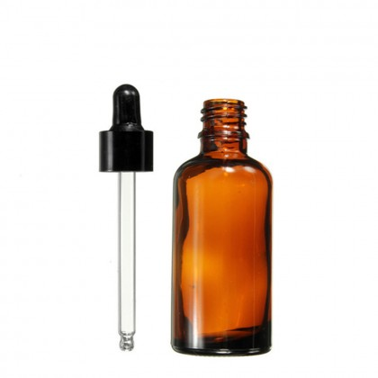 5PCS 10ml Round Amber Glass Essential Oil Bottle / Rubber Dropper